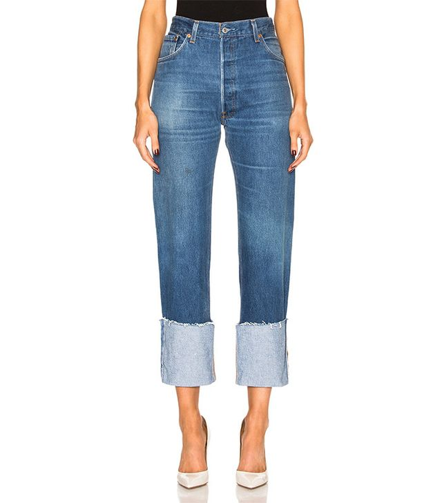 Re/Done High Rise Straight Cuffed Jeans