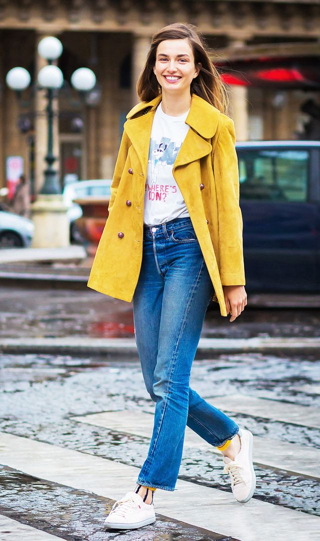 """Though wearing yellow won't necessarily make your legs look more shapely or your waist slimmer, aGlamourarticle points out that science has proven the cheerful hue not only """"raises..."""