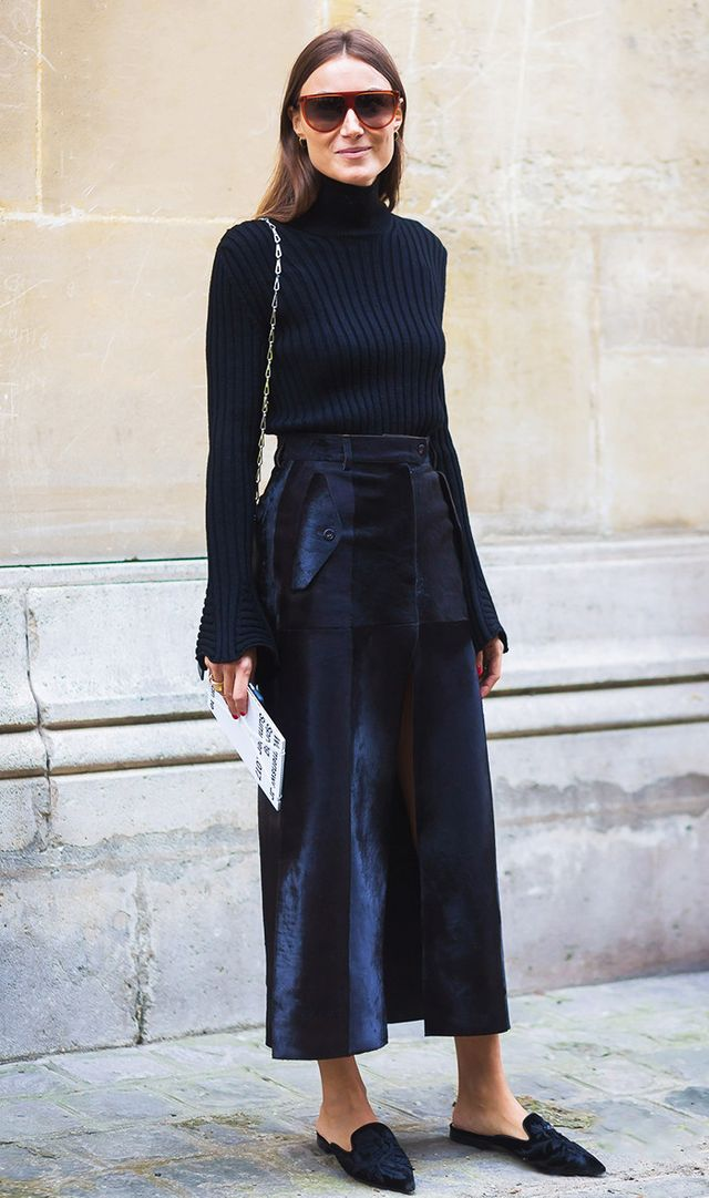"""If your aim is to look slimmer, try wearing pieces all in the same colour—apparently it """"blurs the dividing lines,"""" Pine writes."""