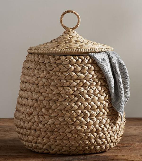 Pottery Barn Beachcomber Lidded Tulip Basket