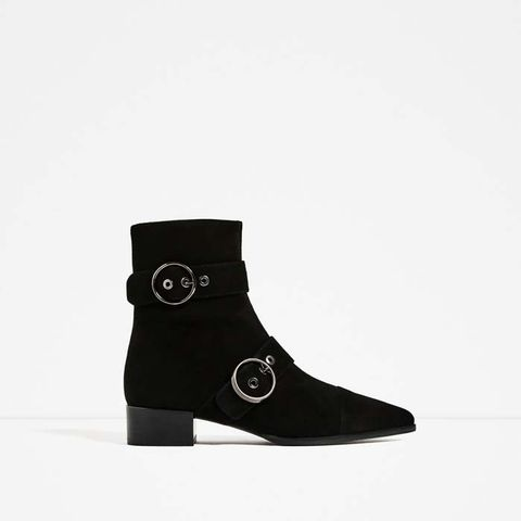 Pointed Leather Buckled Ankle Boots