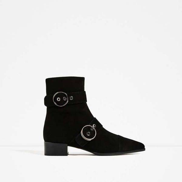 Zara Pointed Leather Buckled Ankle Boots