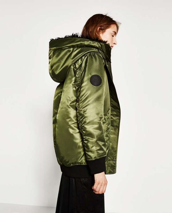 Zara Long Hooded Bomber Jacket