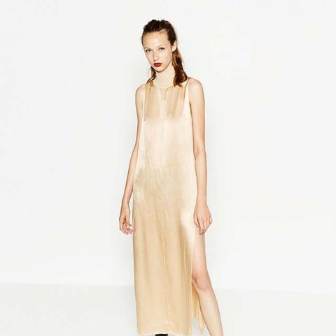 High Neck Sateen Dress