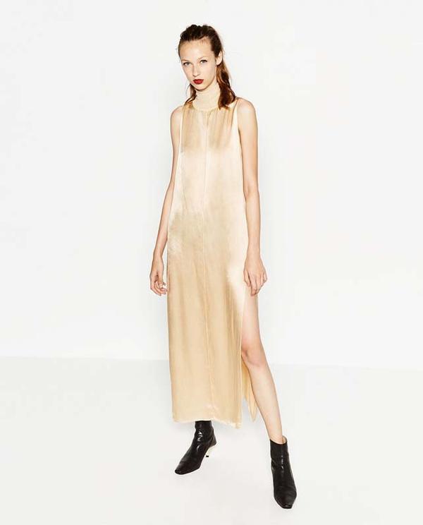 Zara High Neck Sateen Dress
