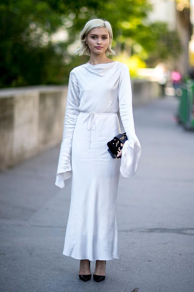 Silk Dress + Pumps