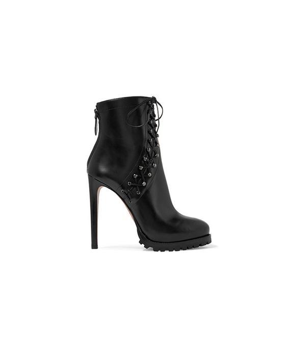 Alaïa Lace-Up Leather Platform Ankle Boots