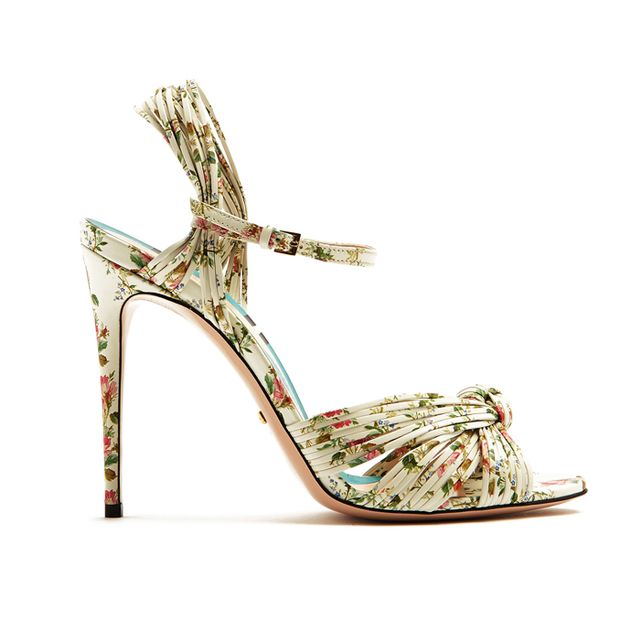 Gucci Allie Rose-Print Leather Sandals