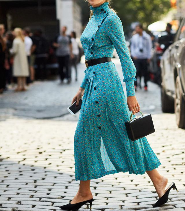 Expensive-Looking Outfits: Floral Midi Dress and Mules
