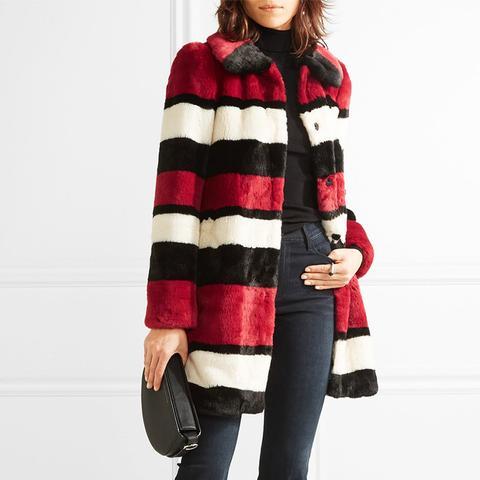 Kinsley Oversized Striped Faux Fur Coat