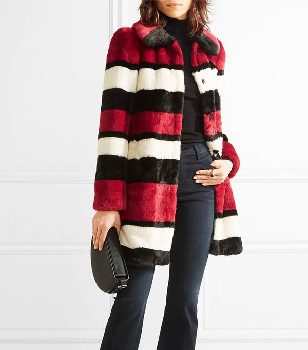 Alice + Olivia Kinsley Oversized Striped Faux Fur Coat