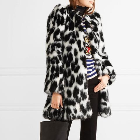 Embellished Leopard-Print Faux Fur Coat