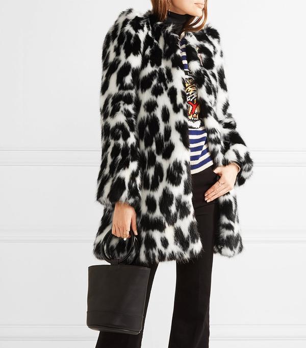 Marc Jacobs Embellished Leopard-Print Faux Fur Coat
