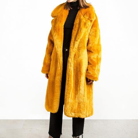 Mustard Long Faux Fur Coat