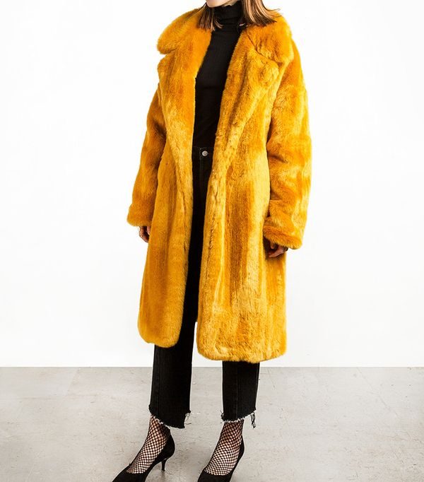 Pixie Market Mustard Long Faux Fur Coat