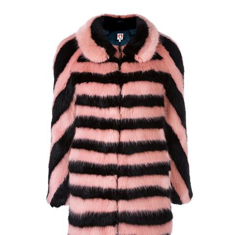 Striped Fur Effect Coat