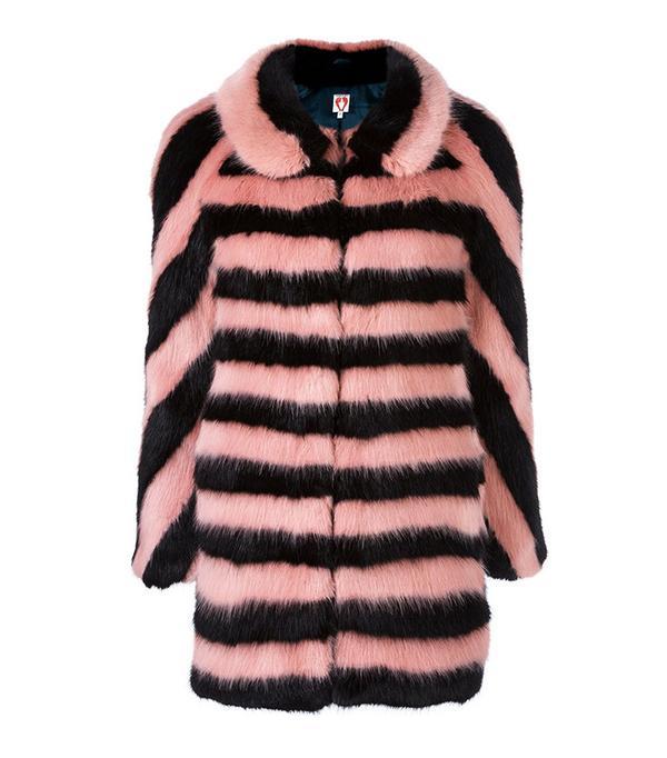 Shrimps Striped Fur Effect Coat