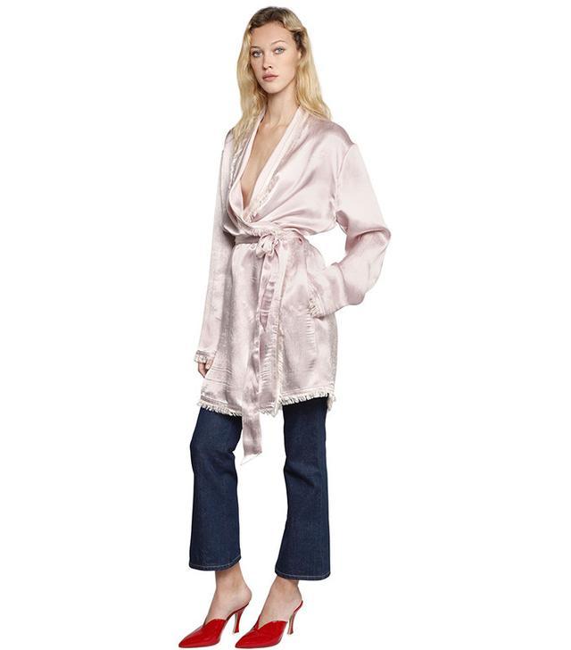Attico Fernanda Heavy Silk Satin Wrap Jacket