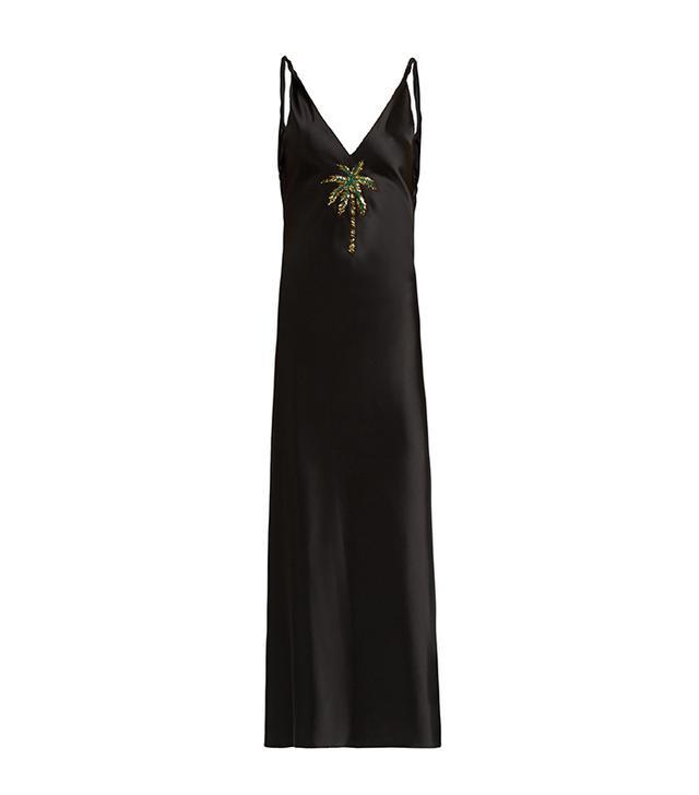 Attico Caroline Palm-Embellished Satin Dress