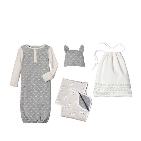 Baby 4-Piece Gown, Hat, Blanket & Bag Set