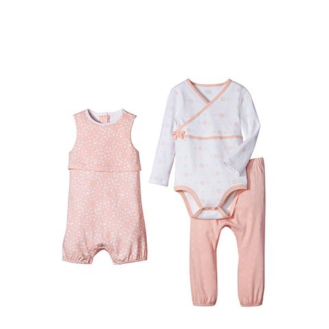 Baby Girls' Sleeveless Romper and 2-Piece Top & Bottom Set