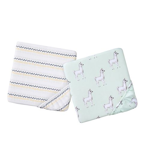 Mint Llama and Geo Stripe Crib Sheets
