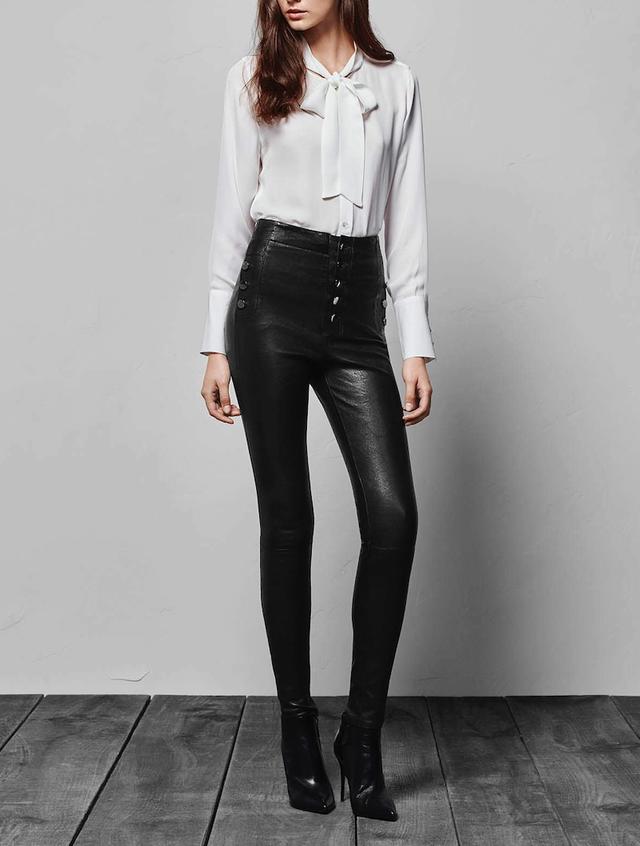 J Brand Natasha Leather Sky-High Skinny in Black