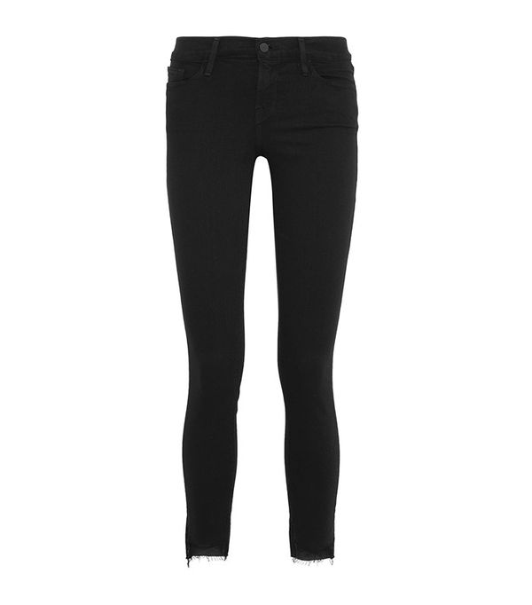 Frame Le Skinny De Jeanne Raw Stagger Mid-Rise Jeans
