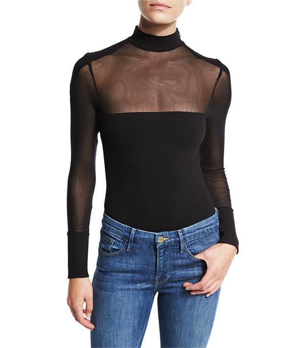 Kendall + Kylie Mock-Neck Mesh Bodysuit