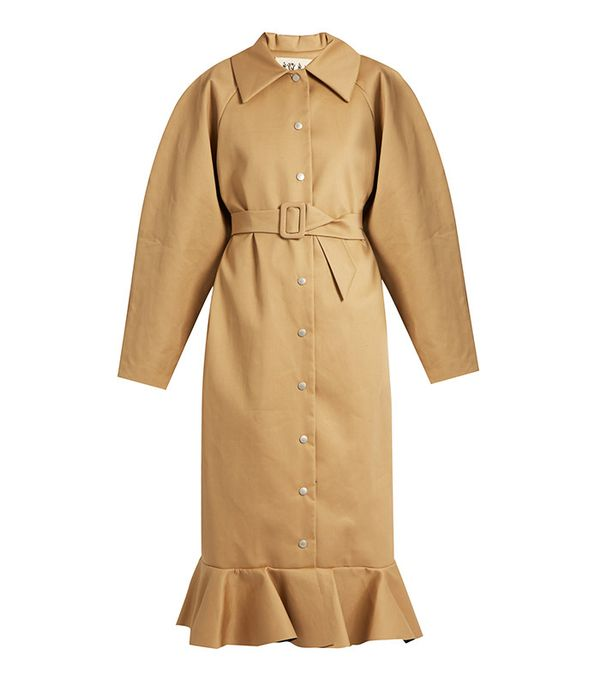 A.W.A.K.E. Jellyfish Fluted-Hem Oversized Trench Coat