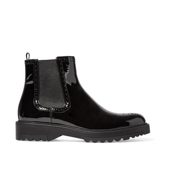 Prada Patent-Leather Chelsea Boots