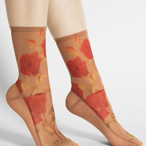 Caramel Roses Mesh Socks