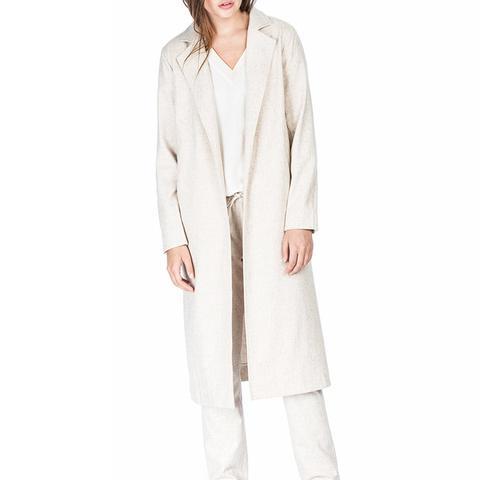Woven Flannel Long Jacket