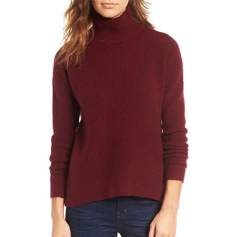Wafflestitch Turtleneck Sweater