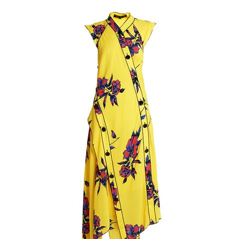 Lily-Print Asymmetric Silk-Crepe Dress