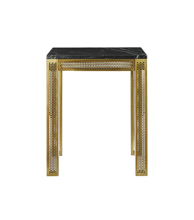CB2 Perforated Black Marble Side Table