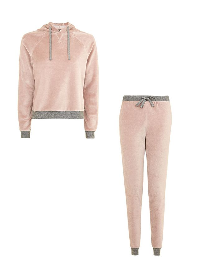 Topshop Nude Velour Loungewear Hoodie and Joggers
