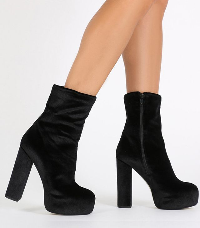 Public Desire x Hailey Baldwin Berlin Platform Ankle Boots in Black Velevet