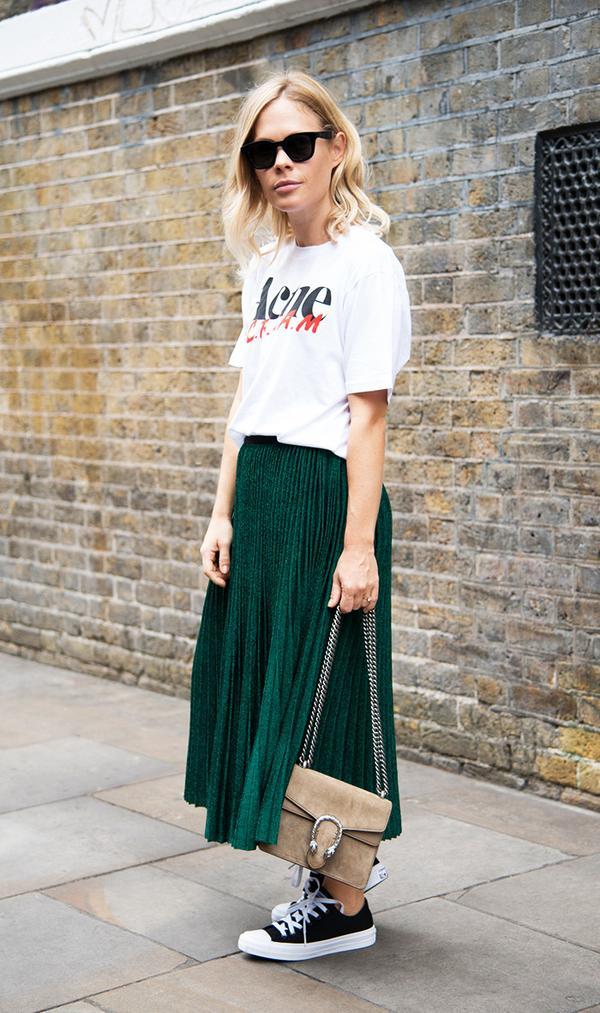 Metallic midi skirts have never looked so good.