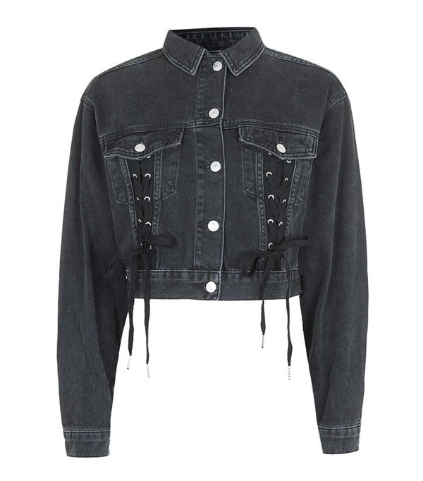 Topshop Moto Lace up Crop Jacket