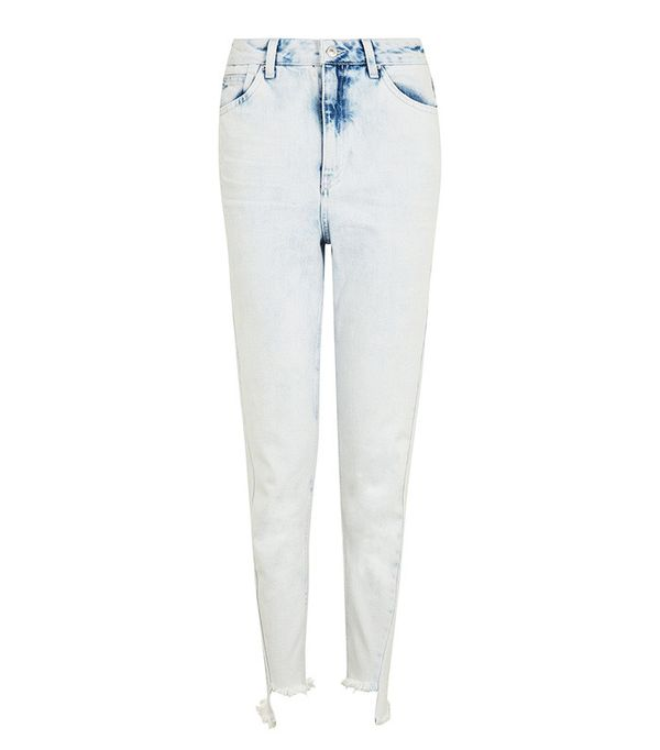 Topshop Moto Bleach Twisted Seam Mom Jeans