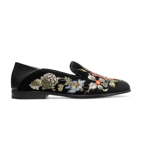 Leather-Trimmed Embroidered Velvet Loafers