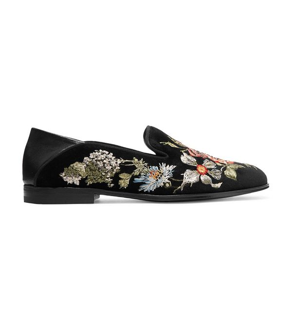 Alexander McQueen Leather-Trimmed Embroidered Velvet Loafers