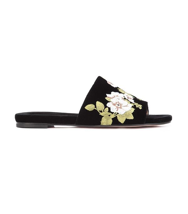 Rochas Flower Embroidered Slippers