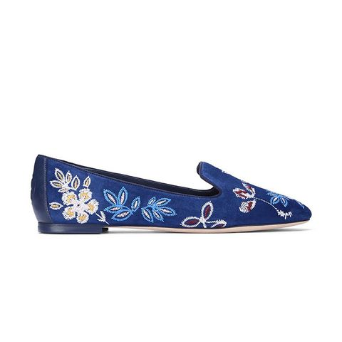 Embroidered Floral Smoking Slipper
