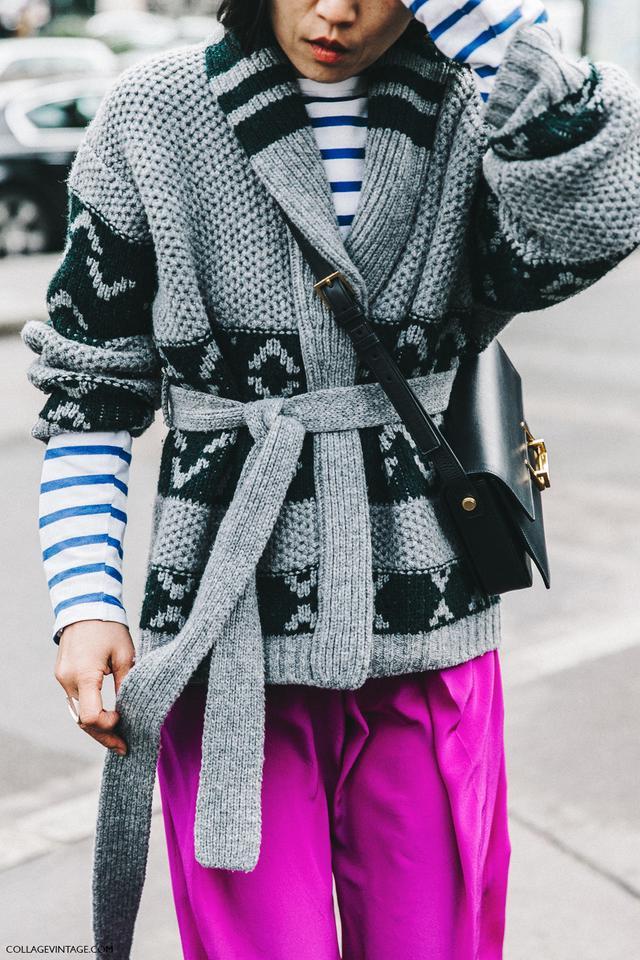 stripes, pink pants street style