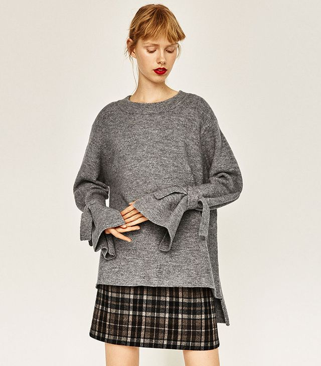 Zara Sweater With Tie Sleeves