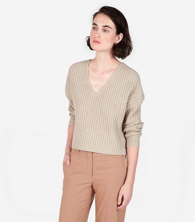 Everlane The Ribbed Wool-Cashmere Crop V-Neck
