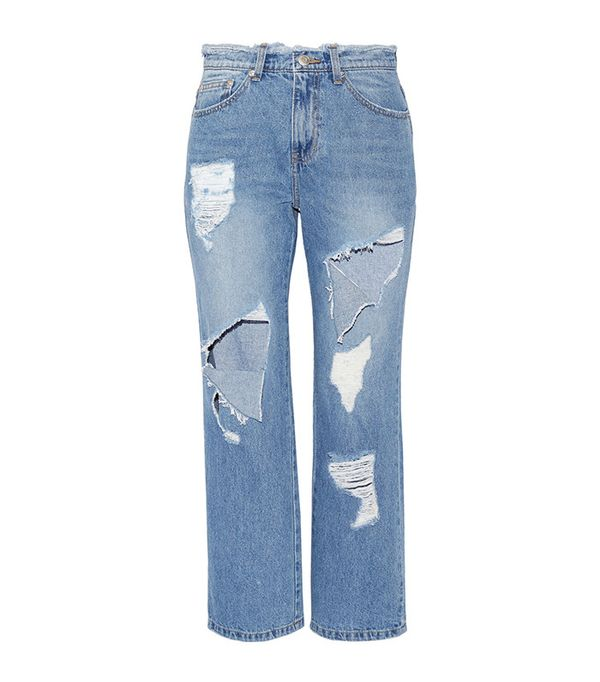 SJYP Steve J & Yoni P Cropped Distressed High-Rise Straight-Leg Jeans