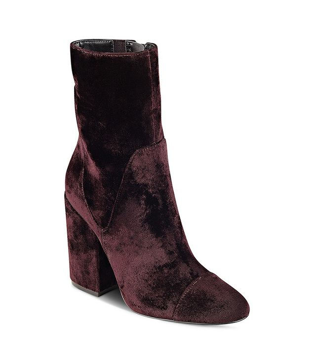 Kendall and Kylie Brooke Velvet Block-Heel Booties